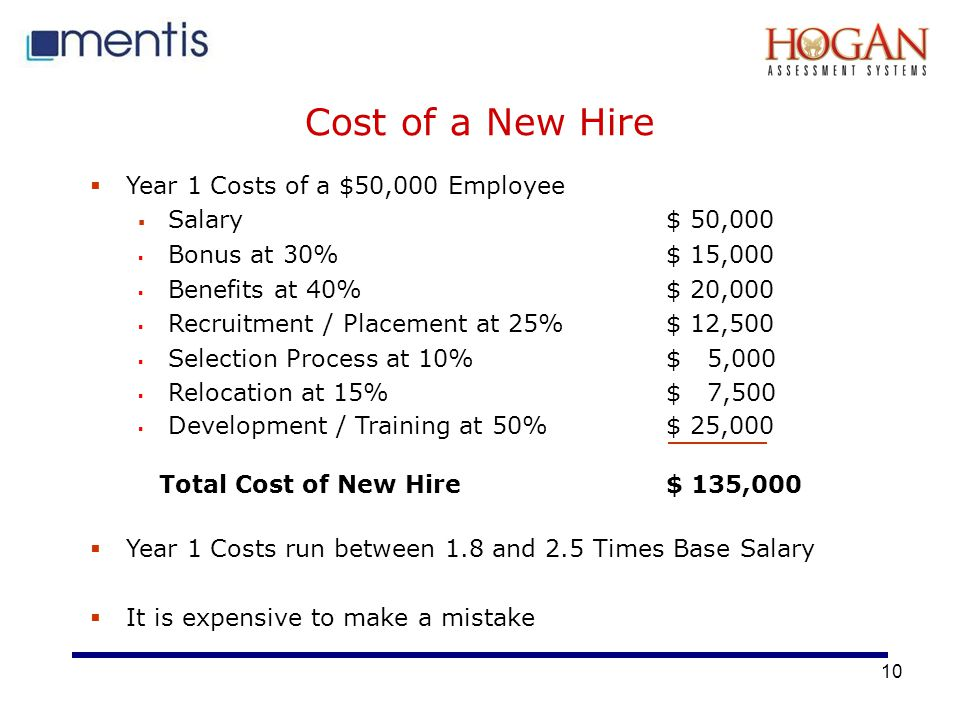 10 Cost of a New Hire  Year 1 Costs of a $50,000 Employee  Salary $ 50,000  Bonus at 30% $ 15,000  Benefits at 40%$ 20,000  Recruitment / Placement at 25%$ 12,500  Selection Process at 10%$ 5,000  Relocation at 15%$ 7,500  Development / Training at 50%$ 25,000 Total Cost of New Hire $ 135,000  Year 1 Costs run between 1.8 and 2.5 Times Base Salary  It is expensive to make a mistake
