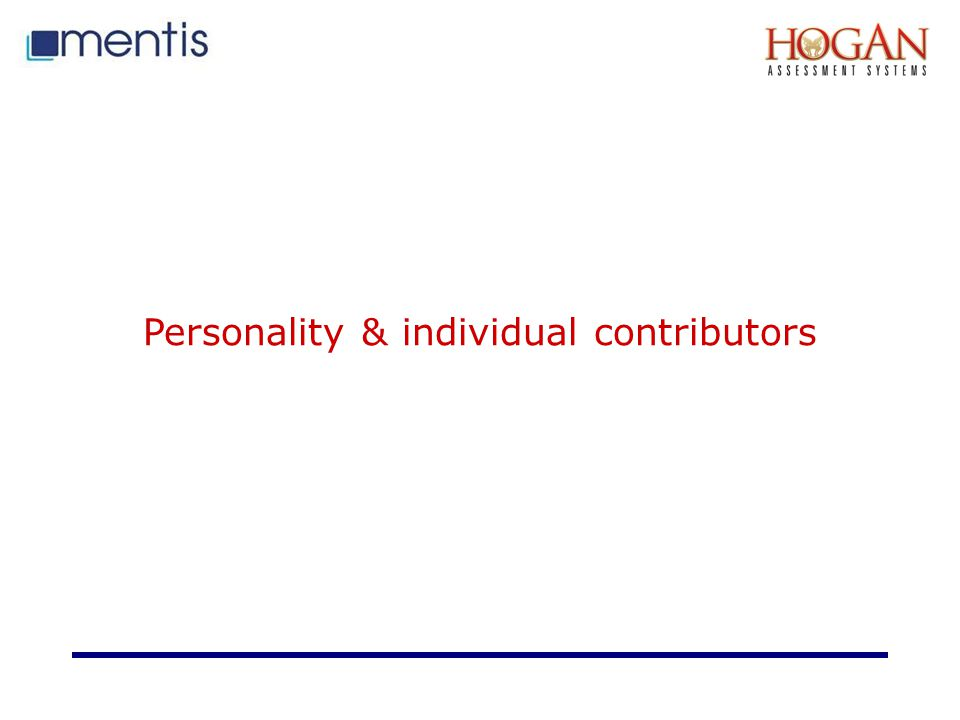 Personality & individual contributors
