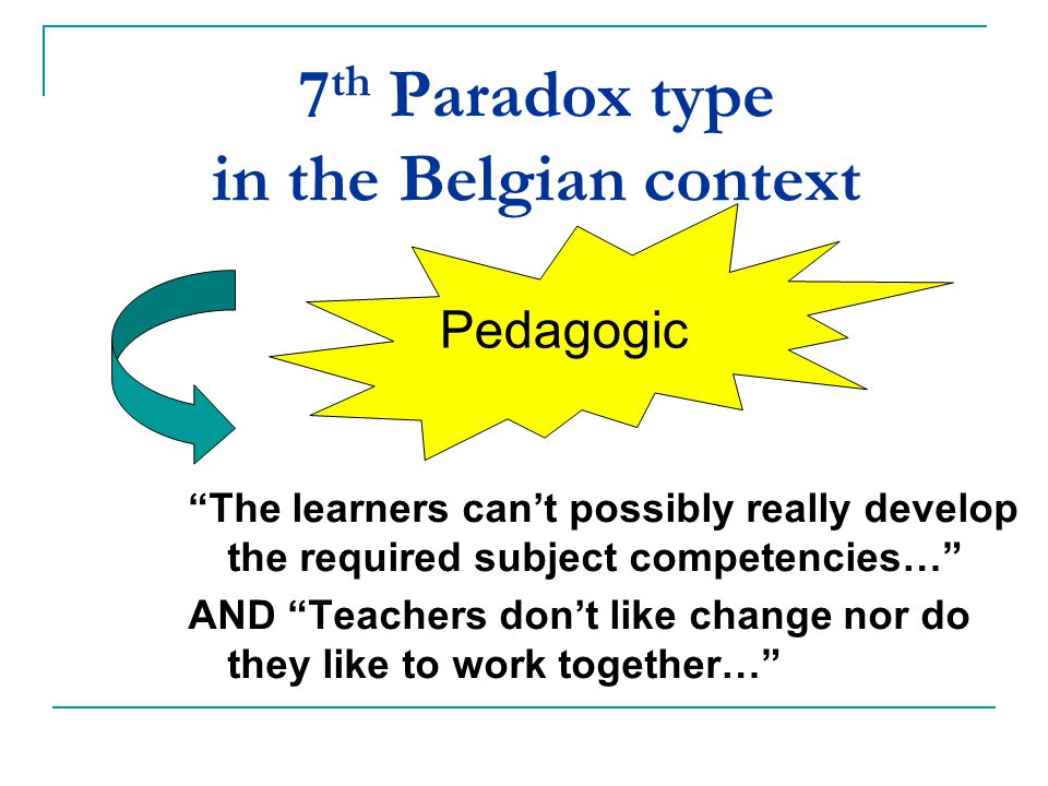 "7 th Paradox type in the Belgian context ""The learners can't possibly really develop the required subject competencies…"" AND ""Teachers don't like chan"