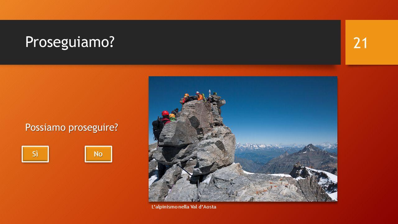 Proseguiamo Possiamo proseguire 21 SìSìSìSì SìSìSìSì No L'alpinismo nella Val d'Aosta