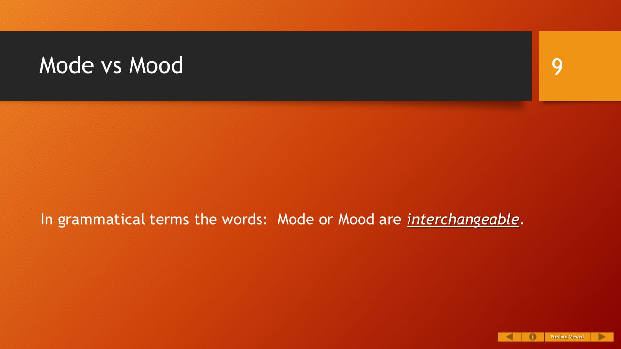 Mode vs Mood interchangeable In grammatical terms the words: Mode or Mood are interchangeable.