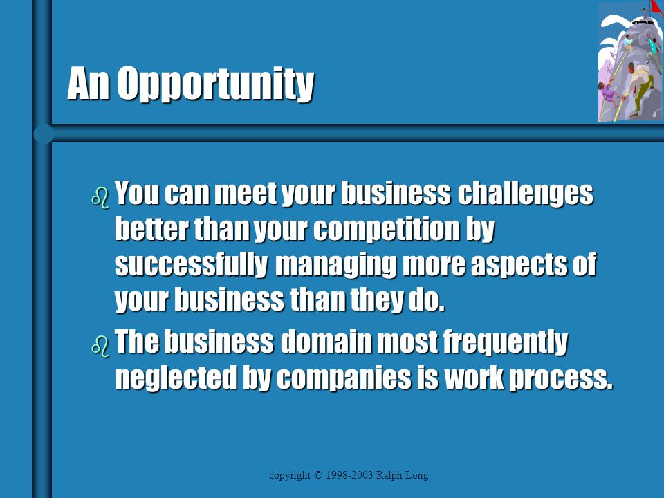 copyright © 1998-2003 Ralph Long An Opportunity b You can meet your business challenges better than your competition by successfully managing more aspects of your business than they do.