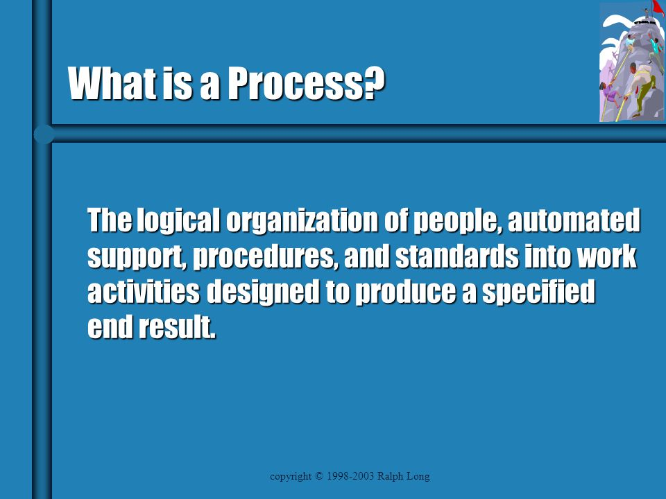 copyright © 1998-2003 Ralph Long What is a Process.