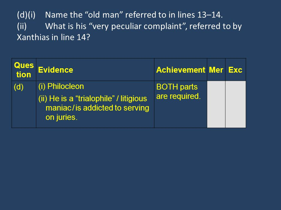 "(d)(i)Name the ""old man"" referred to in lines 13–14. (ii)What is his ""very peculiar complaint"", referred to by Xanthias in line 14? Ques tion Evidence"