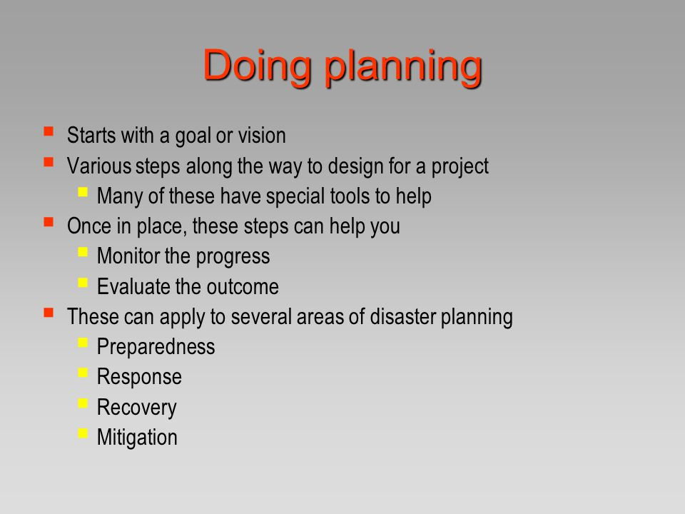 The Planning Cycle assess identify problems set priorities consider strategies implement design the project