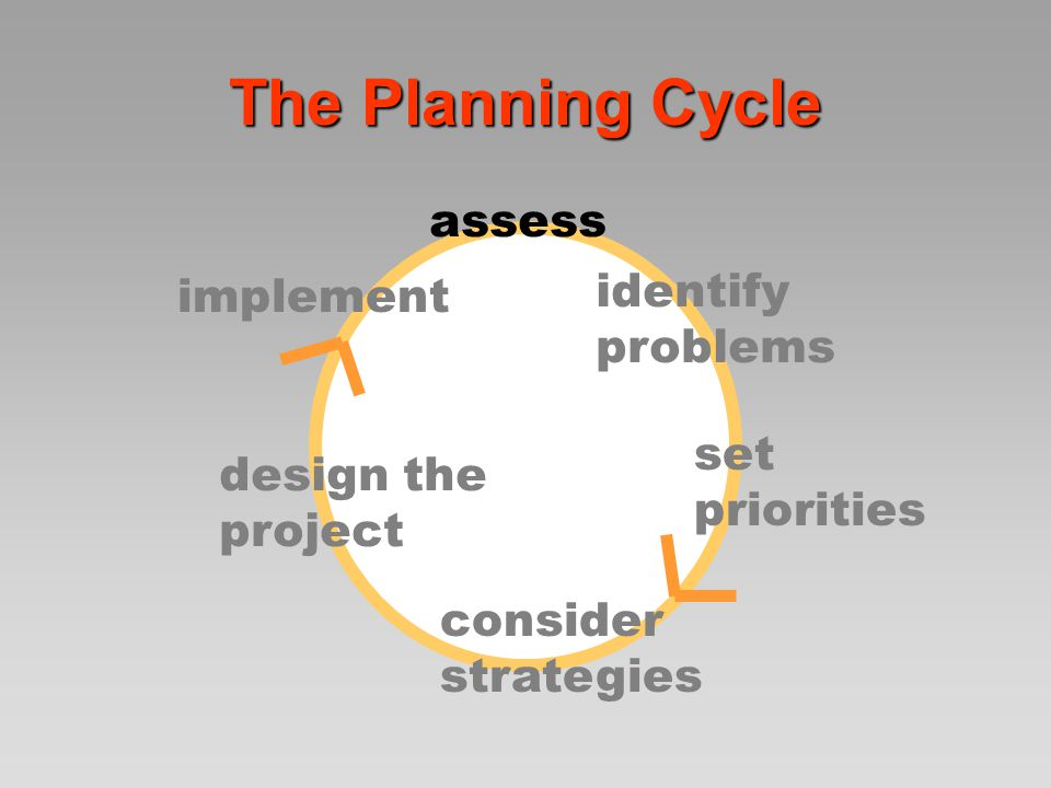 The Planning Cycle assess identify problems set priorities consider strategies State the need; what is the purpose of this activity.