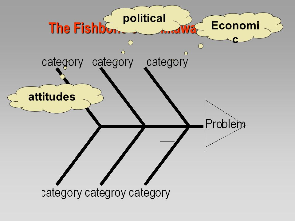 The Fishbone or Ishikawa diagram Economic political attitudes Government structure