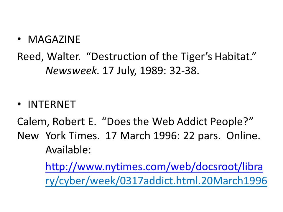 MAGAZINE Reed, Walter. Destruction of the Tiger's Habitat. Newsweek.