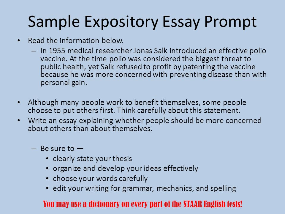 Sample Expository Essay Prompt Read the information below.
