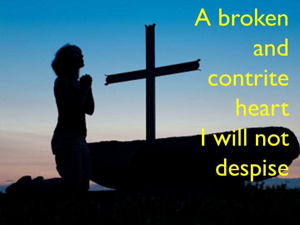 A broken and contrite heart I will not despise