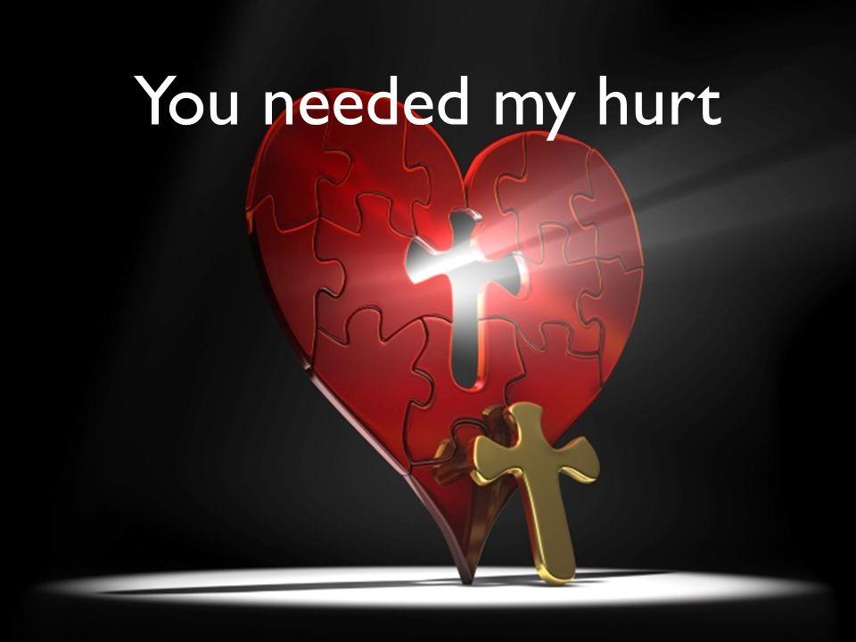 You needed my hurt