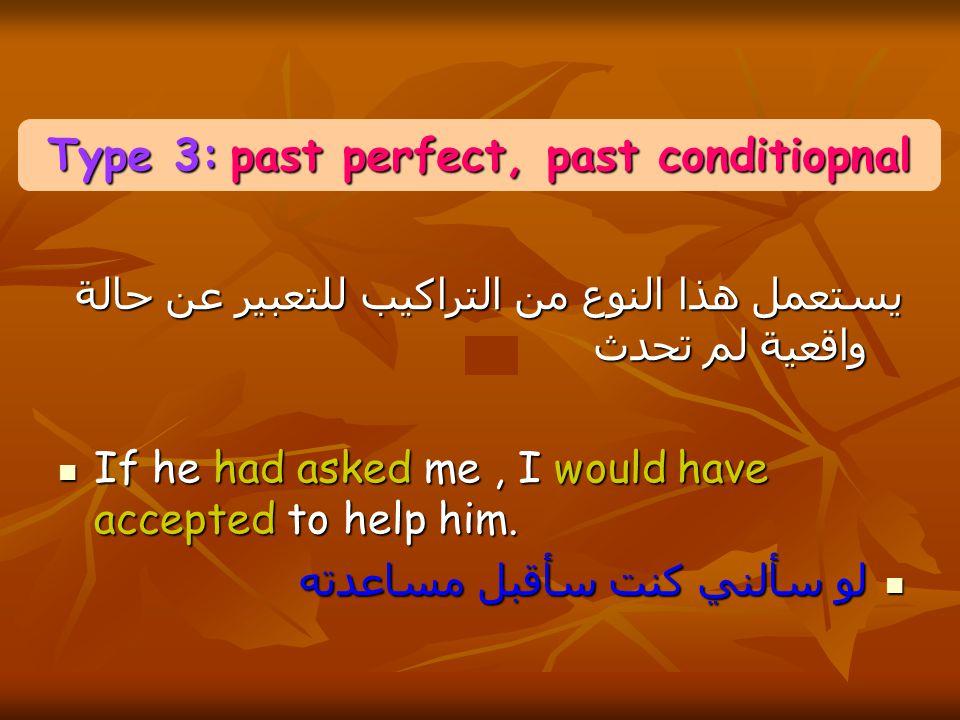يستعمل هذا النوع من التراكيب للتعبير عن حالة واقعية لم تحدث If he had asked me, I would have accepted to help him.
