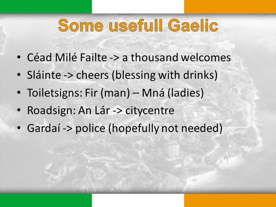 Céad Milé Failte -> a thousand welcomes Sláinte -> cheers (blessing with drinks) Toiletsigns: Fir (man) – Mná (ladies) Roadsign: An Lár -> citycentre Gardaí -> police (hopefully not needed)