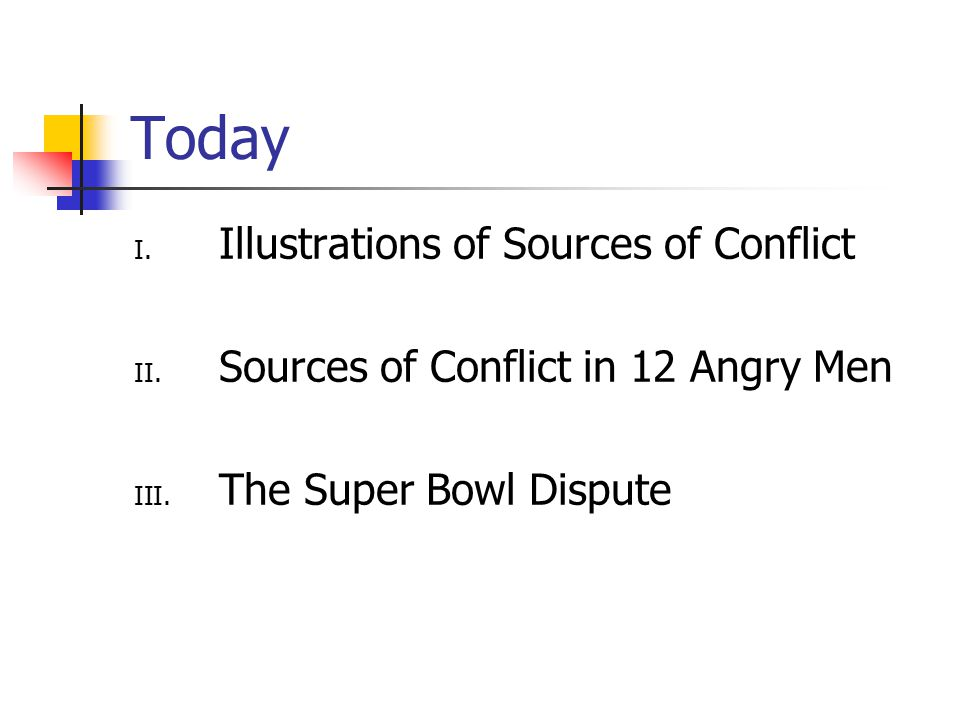 Today I. Illustrations of Sources of Conflict II.