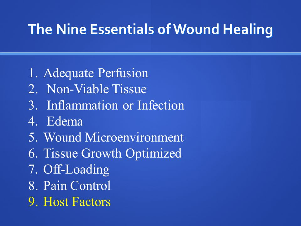 The Nine Essentials of Wound Healing Controlled Pain = Better Compliance