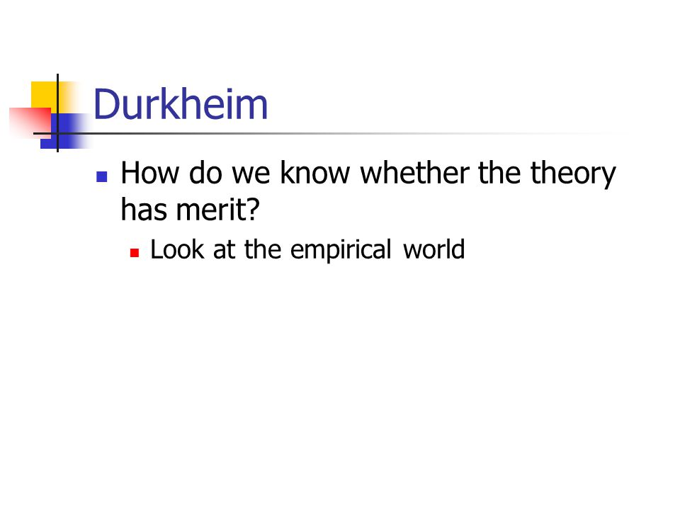 Durkheim How do we know whether the theory has merit? Look at the empirical world