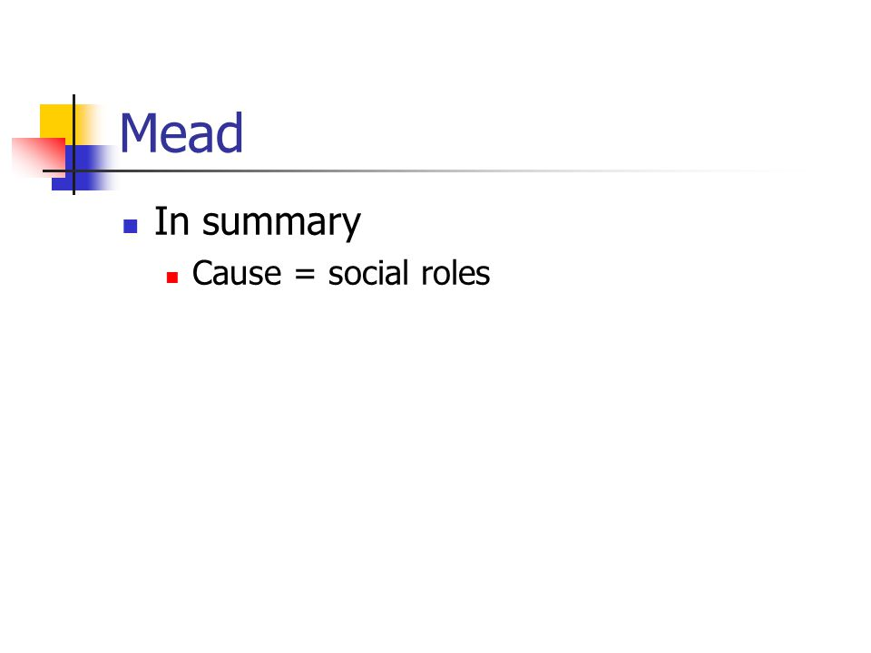 Mead In summary Cause = social roles