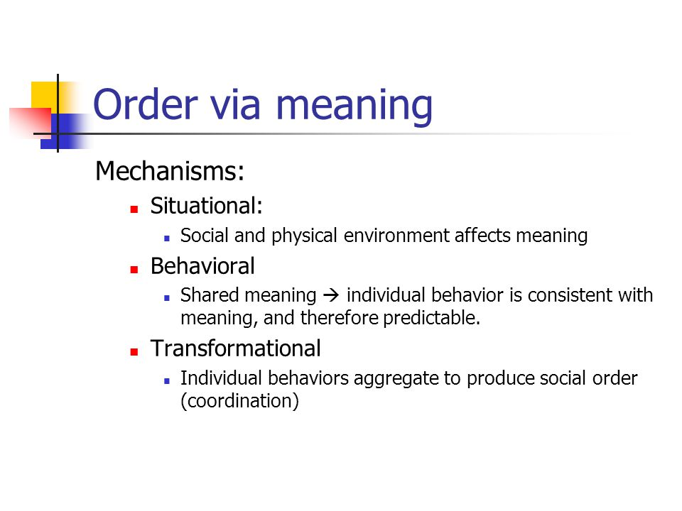 Order via meaning Mechanisms: Situational: Social and physical environment affects meaning Behavioral Shared meaning  individual behavior is consistent with meaning, and therefore predictable.
