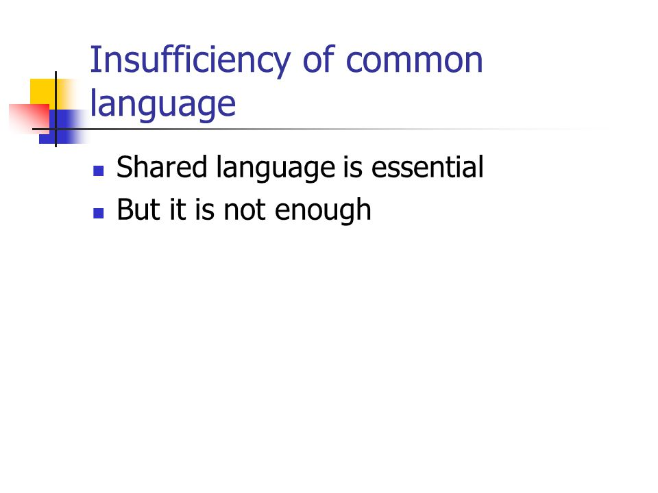 Insufficiency of common language Shared language is essential But it is not enough