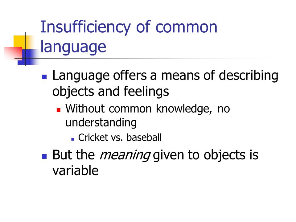 Insufficiency of common language Language offers a means of describing objects and feelings Without common knowledge, no understanding Cricket vs. bas