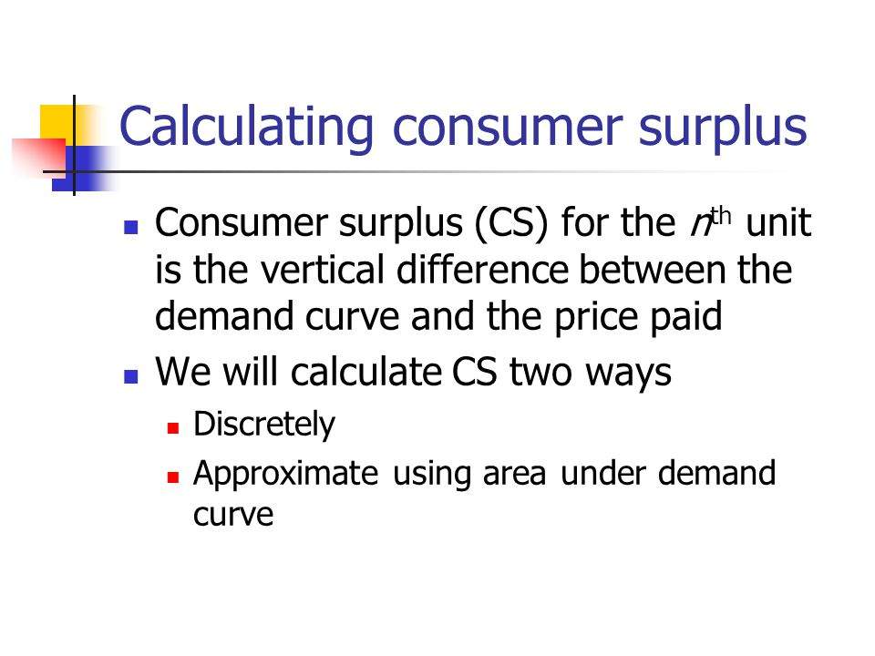 Calculating consumer surplus Consumer surplus (CS) for the n th unit is the vertical difference between the demand curve and the price paid We will ca