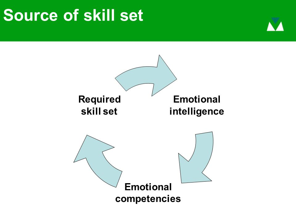 Source of skill set Emotional intelligence Emotional competencies Required skill set