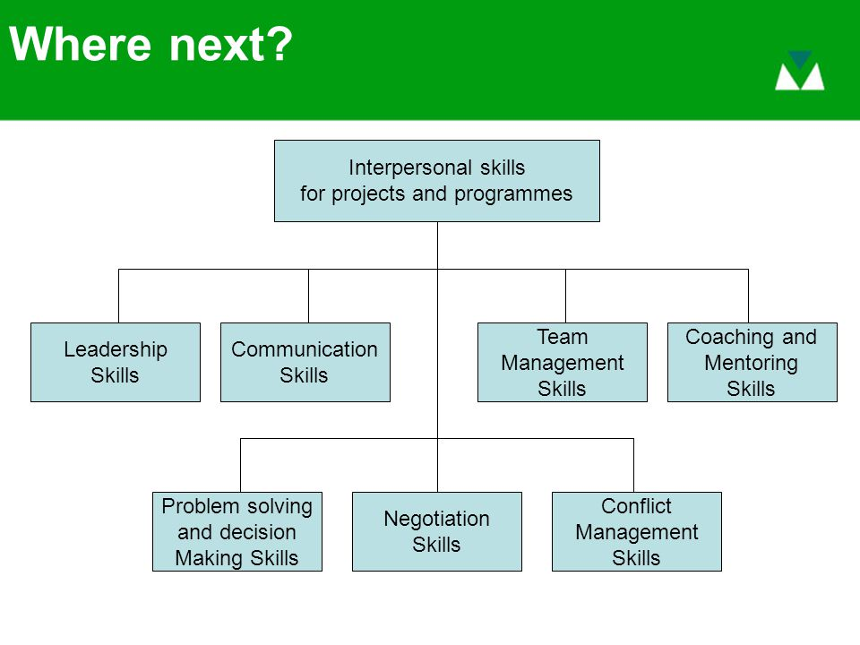 Where next? Interpersonal skills for projects and programmes Negotiation Skills Problem solving and decision Making Skills Conflict Management Skills