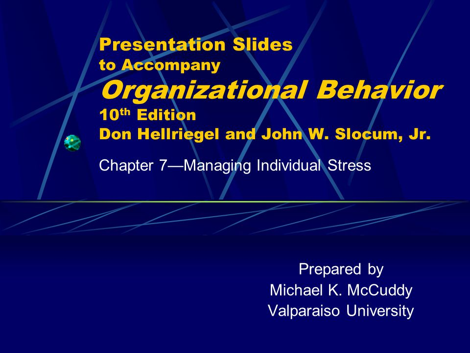 Chapter 7: Managing Individual Stress114 Slide 7.11 Components and Characteristics of Burnout  Components:  State of emotional exhaustion  Depersonalization of individuals  Feelings of low personal accomplishment  Characteristics:  Experiences high stress from work-related stressors  Idealistic and self-motivating achievers  Often seek unattainable goals
