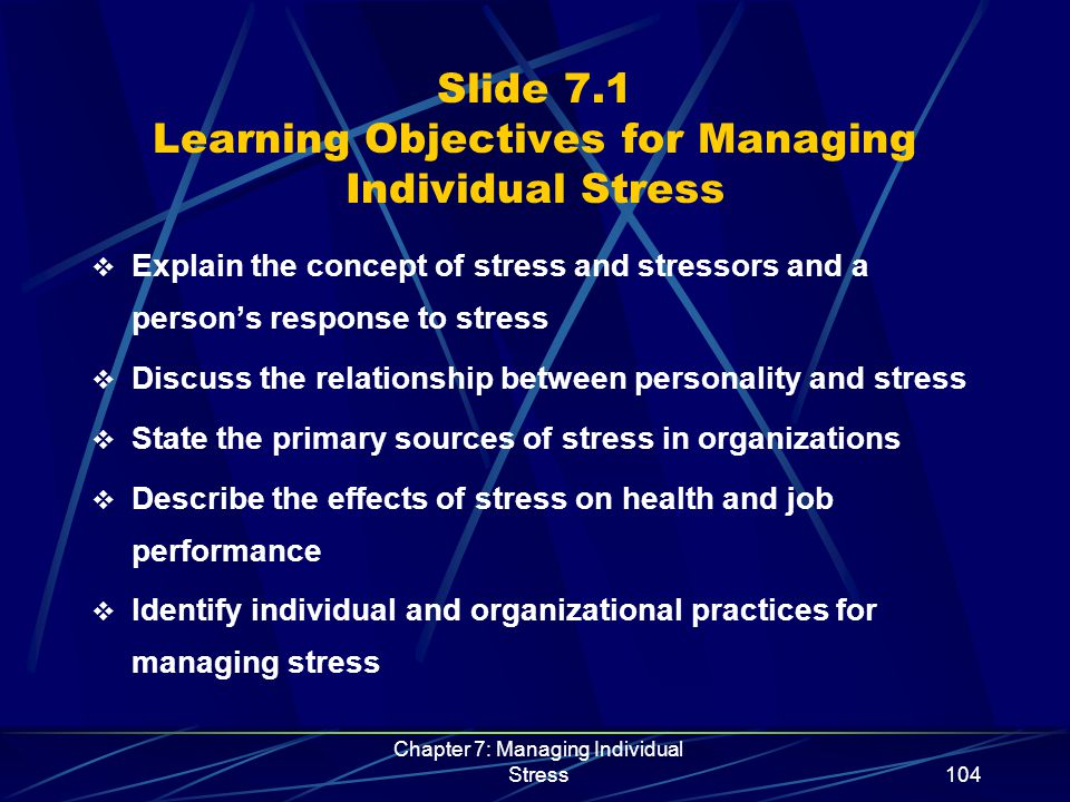 Chapter 7: Managing Individual Stress115 Slide 7.12 Individual Stress Management Initiatives  Designed to eliminate or control sources of stress and improve the person's ability to cope  A person can manage stress by:  Planning ahead and practicing good time management  Having good personal health management practices  Maintaining a positive perspective  Balancing work life and personal life  Learning a relaxation technique