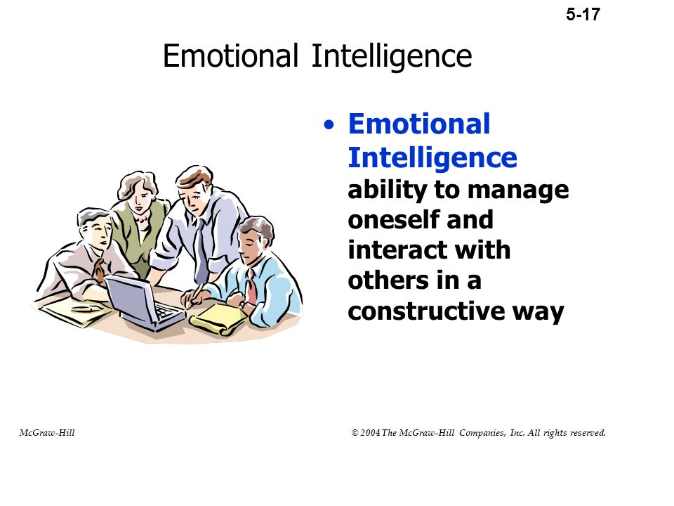 Emotional Intelligence Emotional Intelligence ability to manage oneself and interact with others in a constructive way 5-17 McGraw-Hill © 2004 The McG