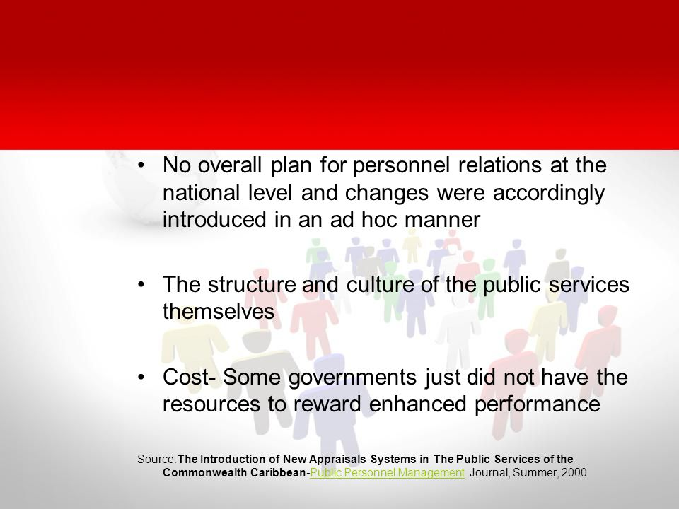 No overall plan for personnel relations at the national level and changes were accordingly introduced in an ad hoc manner The structure and culture of the public services themselves Cost- Some governments just did not have the resources to reward enhanced performance Source:The Introduction of New Appraisals Systems in The Public Services of the Commonwealth Caribbean-Public Personnel Management Journal, Summer, 2000Public Personnel Management