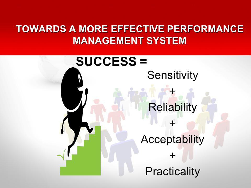 TOWARDS A MORE EFFECTIVE PERFORMANCE MANAGEMENT SYSTEM Sensitivity + Reliability + Acceptability + Practicality SUCCESS =