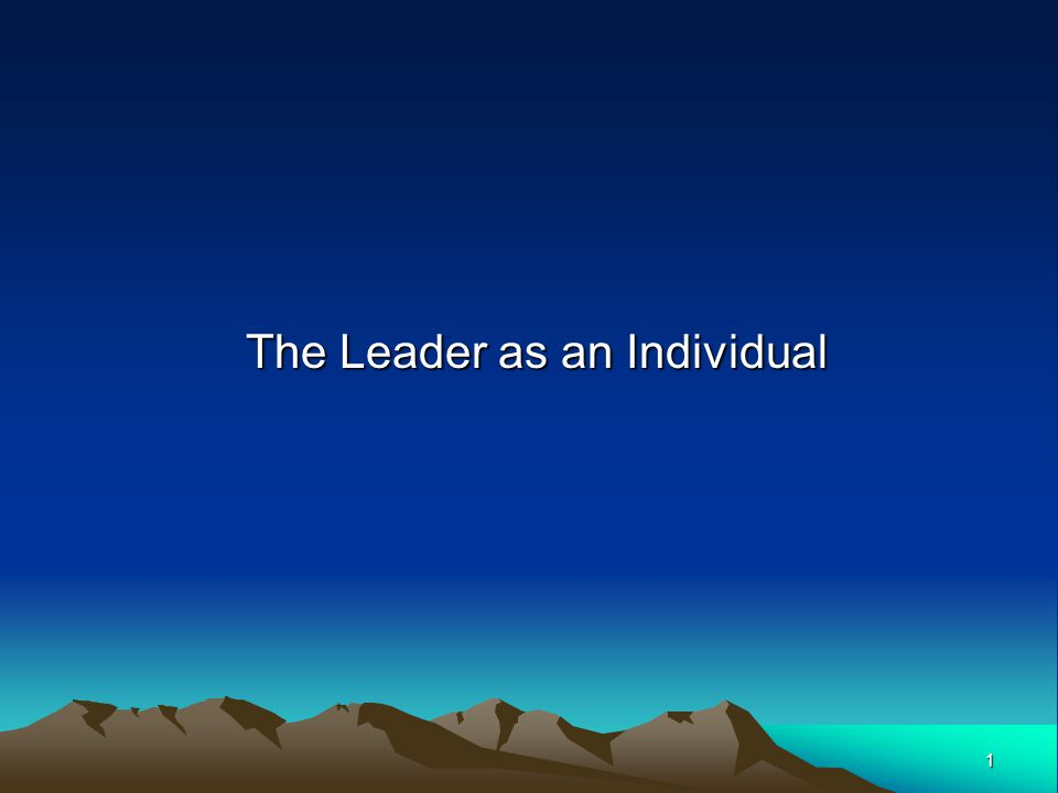 1 The Leader as an Individual