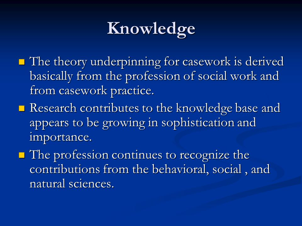 Knowledge The theory underpinning for casework is derived basically from the profession of social work and from casework practice. The theory underpin