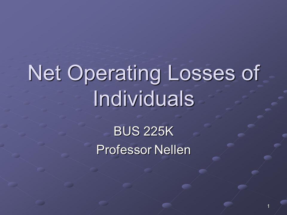 1 Net Operating Losses of Individuals BUS 225K Professor Nellen
