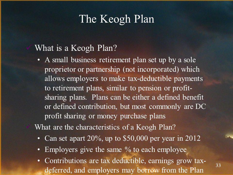 33 The Keogh Plan What is a Keogh Plan.