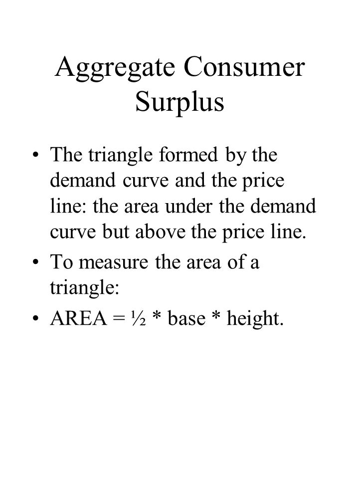 Aggregate Consumer Surplus The triangle formed by the demand curve and the price line: the area under the demand curve but above the price line.