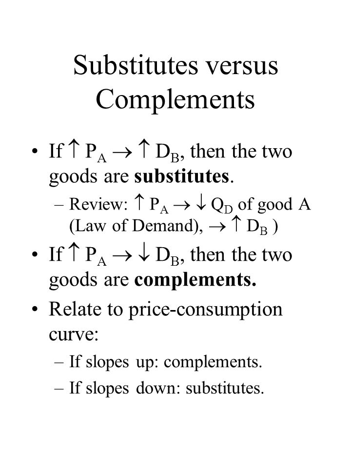 Substitutes versus Complements If  P A   D B, then the two goods are substitutes.