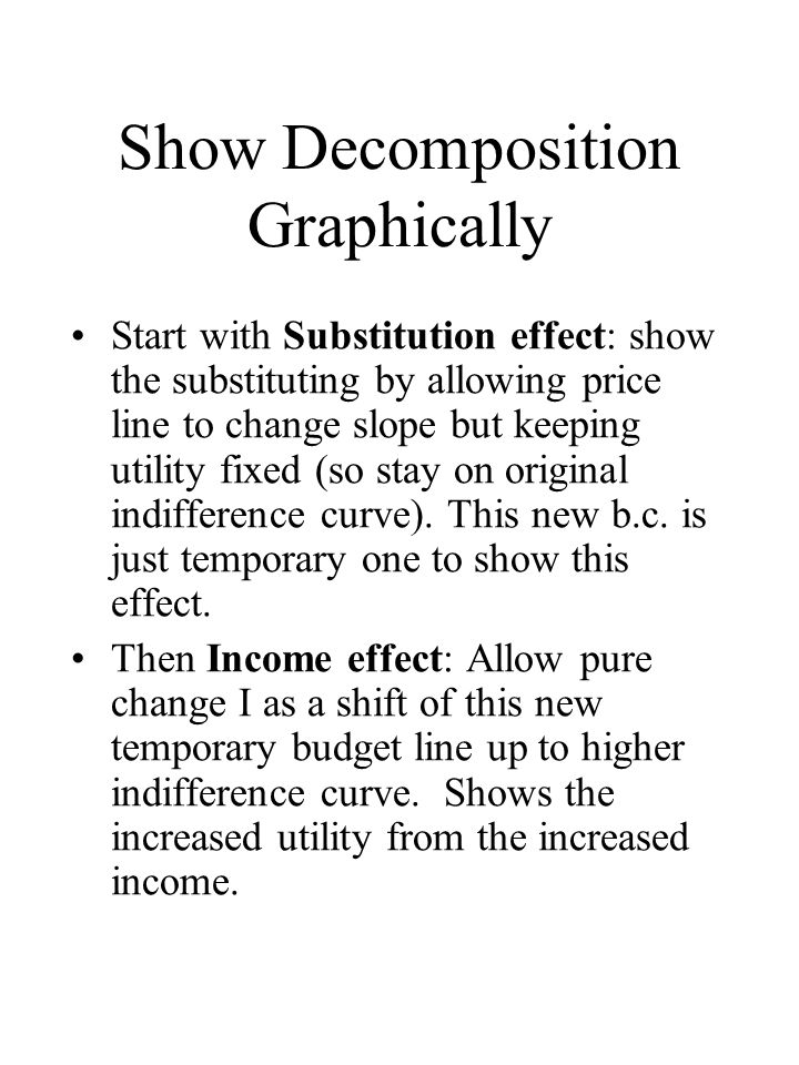 Show Decomposition Graphically Start with Substitution effect: show the substituting by allowing price line to change slope but keeping utility fixed (so stay on original indifference curve).