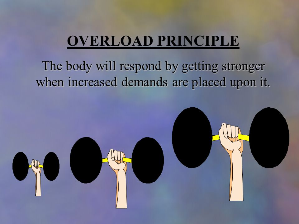 OVERLOAD PRINCIPLE The body will respond by getting stronger when increased demands are placed upon it.