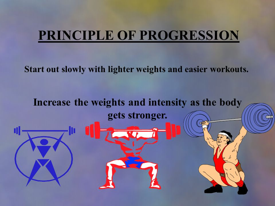 PRINCIPLE OF PROGRESSION Start out slowly with lighter weights and easier workouts.