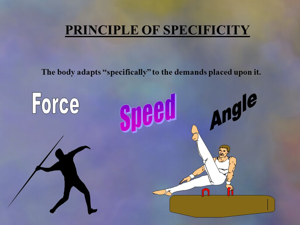 PRINCIPLE OF SPECIFICITY The body adapts specifically to the demands placed upon it.