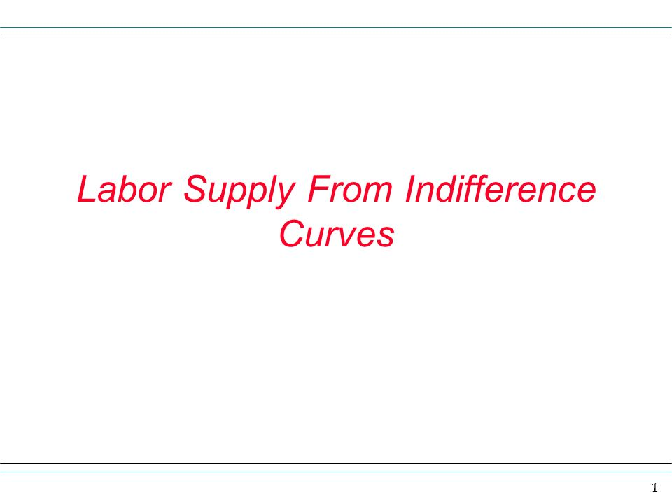 1 Labor Supply From Indifference Curves