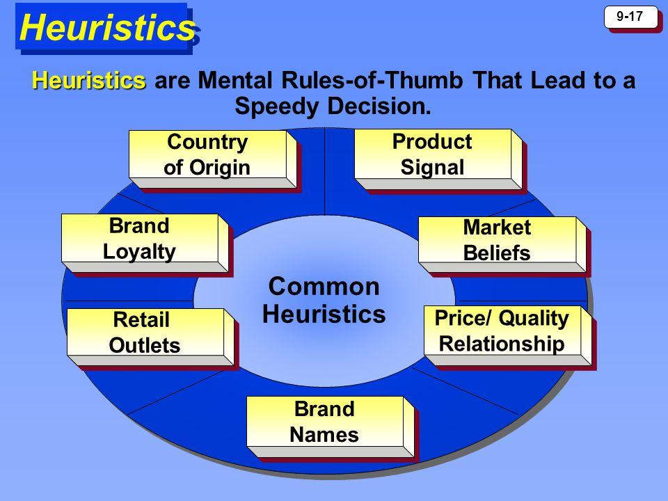 9-17 Heuristics Common Heuristics Price/ Quality Relationship Price/ Quality Relationship Brand Loyalty Brand Loyalty Product Signal Product Signal Co