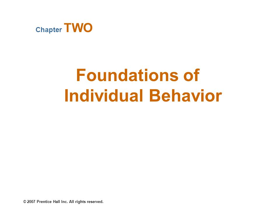 © 2007 Prentice Hall Inc. All rights reserved. Foundations of Individual Behavior Chapter TWO