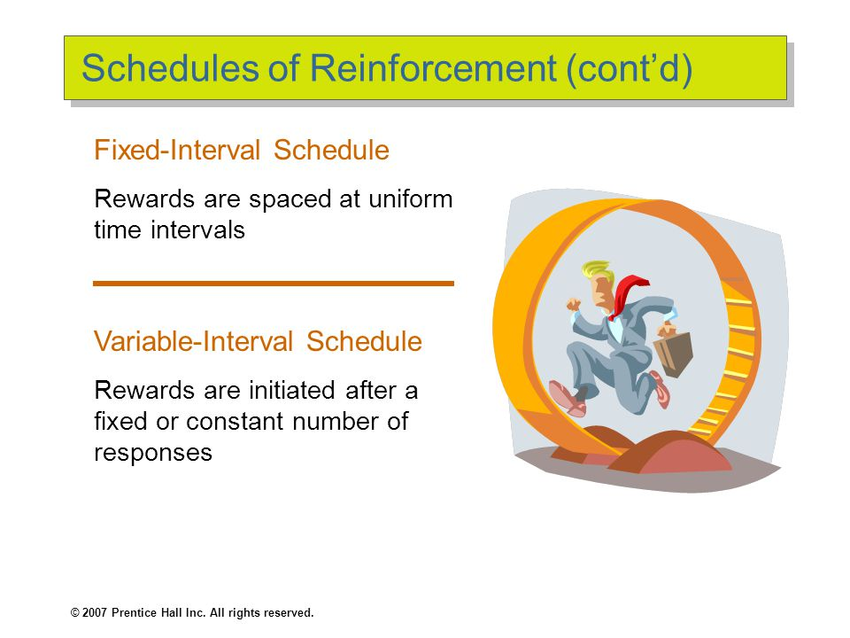 © 2007 Prentice Hall Inc. All rights reserved. Schedules of Reinforcement (cont'd) Fixed-Interval Schedule Rewards are spaced at uniform time interval
