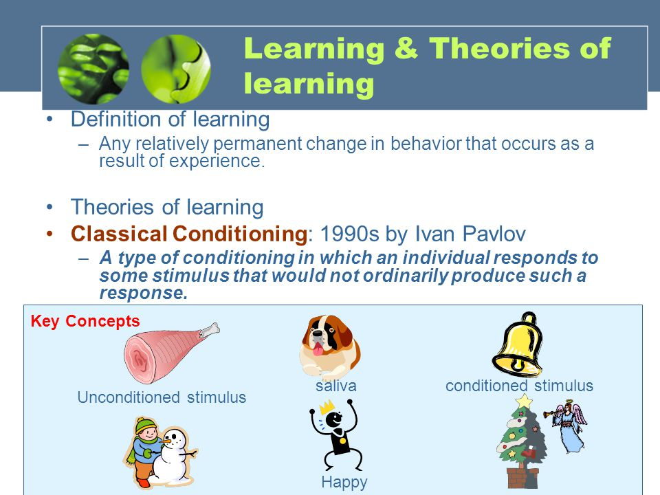 Learning & Theories of learning Definition of learning –Any relatively permanent change in behavior that occurs as a result of experience.
