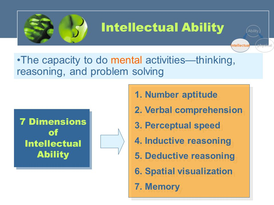 Intellectual Ability The capacity to do mental activities—thinking, reasoning, and problem solving 1.Number aptitude 2.Verbal comprehension 3.Perceptual speed 4.Inductive reasoning 5.Deductive reasoning 6.Spatial visualization 7.Memory 1.Number aptitude 2.Verbal comprehension 3.Perceptual speed 4.Inductive reasoning 5.Deductive reasoning 6.Spatial visualization 7.Memory 7 Dimensions of Intellectual Ability Ability Intellectualphysical