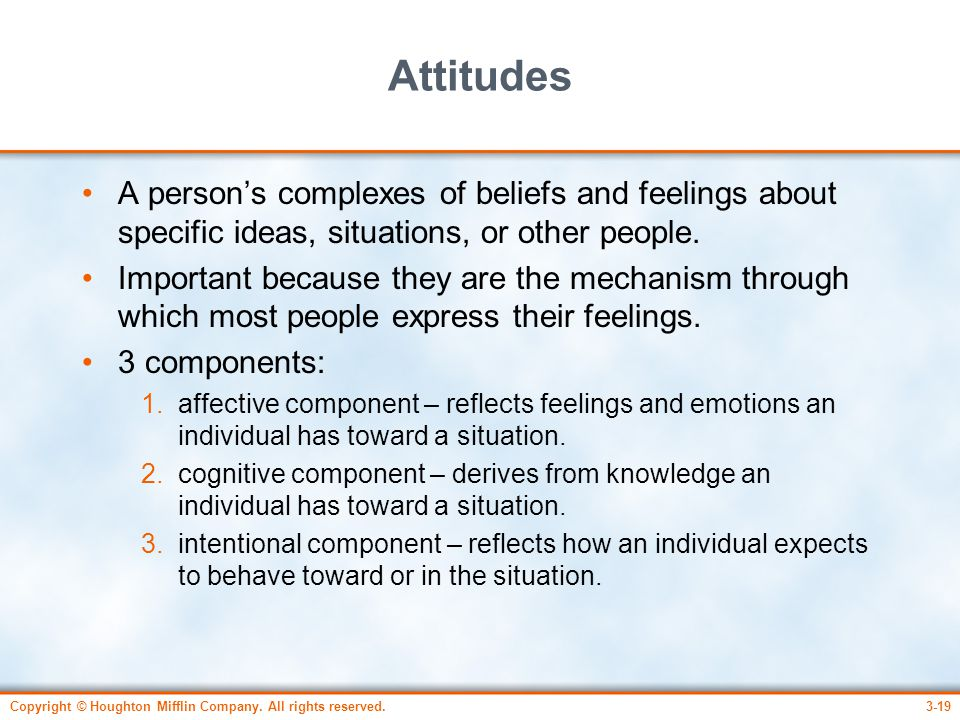 Copyright © Houghton Mifflin Company. All rights reserved.3-19 Attitudes A person's complexes of beliefs and feelings about specific ideas, situations