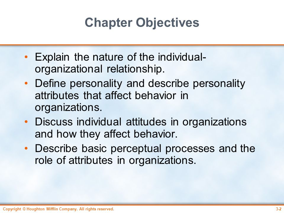 Copyright © Houghton Mifflin Company. All rights reserved.3-2 Chapter Objectives Explain the nature of the individual- organizational relationship. De